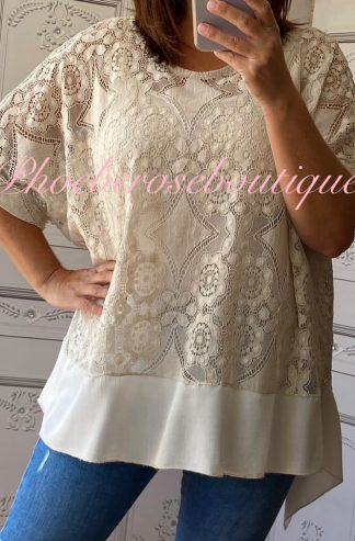 Lace Frill Dipped Hem 2 Part Top - Sand