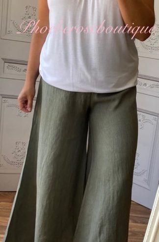 Lux Linen Wide Leg Elastic Waist Trousers - Khaki