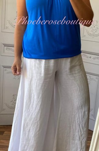 Lux Linen Wide Leg Elastic Waist Trousers - White