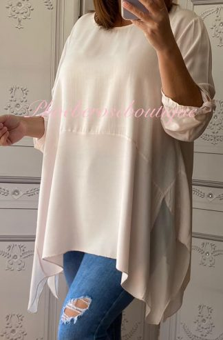 Silk Drape Hem Lightweight Top - Soft Pink