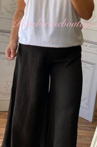 Lux Linen Wide Leg Elastic Waist Trousers - Black