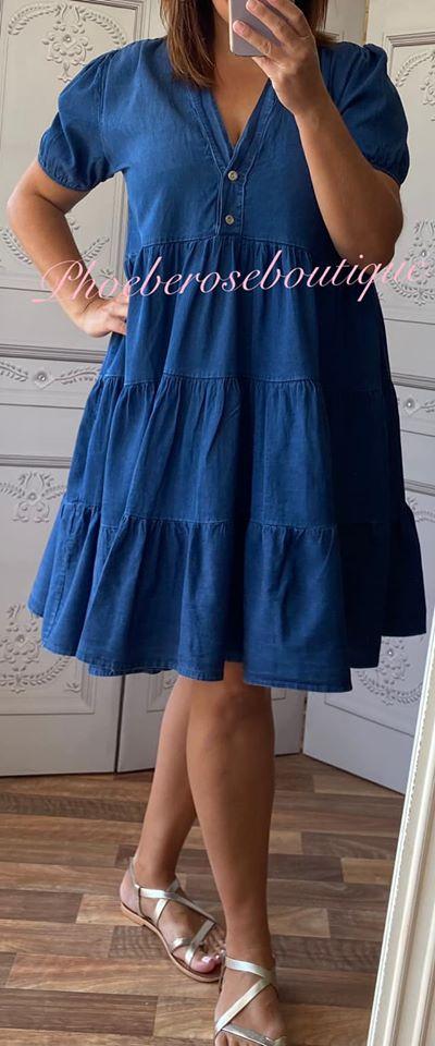 Denim Tiered Smock Dress - Dark Wash