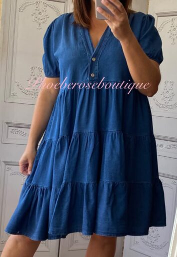 Denim Tiered Smock Dress - Dark Wash