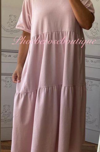 Sports Sweat Feel Midi Smock Tiered Dress - Soft Pink