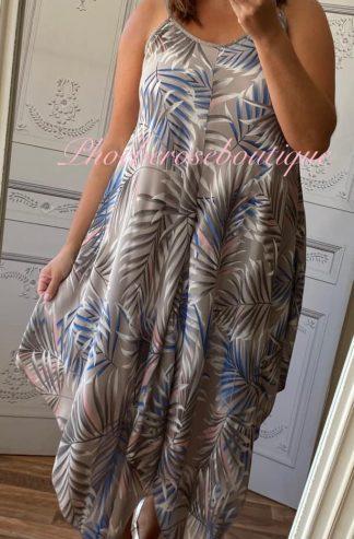 Hankerchief Hem Print Dress - Palm Leaf - Mocha