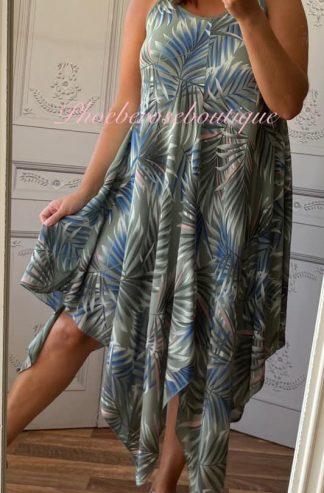 Hankerchief Hem Print Dress - Palm Leaf - Khaki