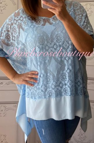 Lace Frill Dipped Hem 2 Part Top - Summer Blue