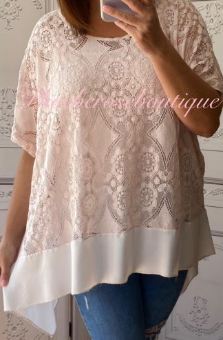 Lace Frill Dipped Hem 2 Part Top - Soft Pink