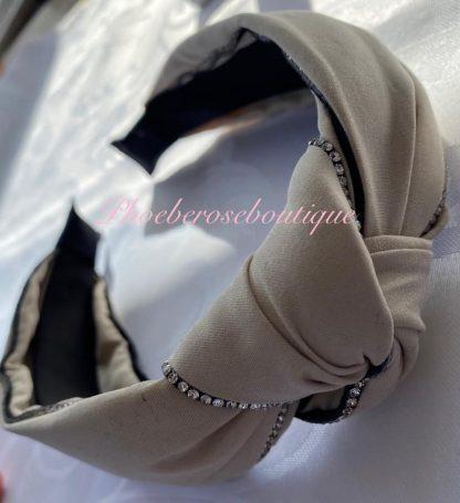 Diamante Trim Fabric Chunky Knot Headband - Cream