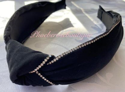Diamante Trim Fabric Chunky Knot Headband - Black