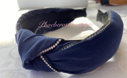 Diamante Trim Fabric Chunky Knot Headband - Navy