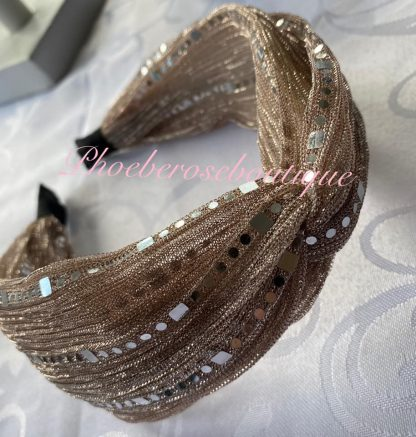 Chiffon Sequin Chunky Twist Headband - Blush