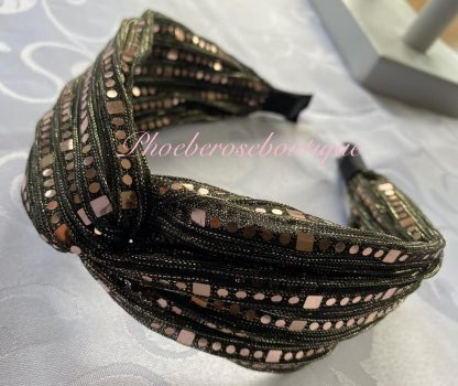 Chiffon Sequin Chunky Twist Headband - Gold