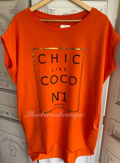 Chic Like ... Stretch Jersey Cap Sleeve Pocket Tunic Top - Orange