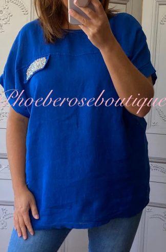 Crystal Embellished Linen Loose Fit Top - Royal Blue