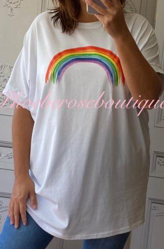 Rainbow Oversized T-Shirt - White