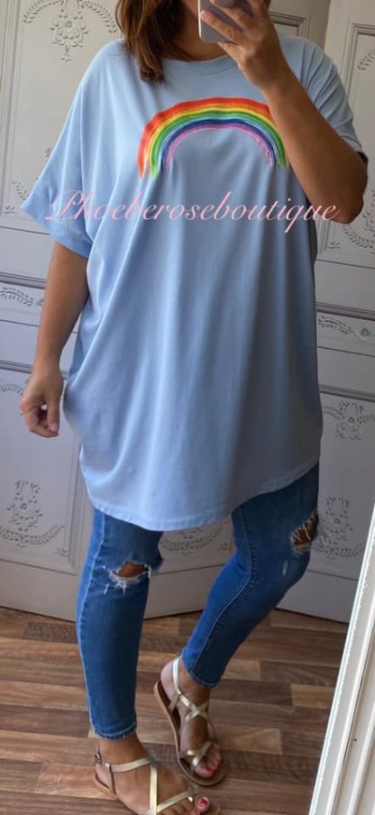 Rainbow Oversized T-Shirt - Sky Blue