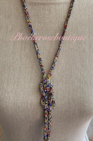 Sparkly Diamante Knot Long Necklace - Multi