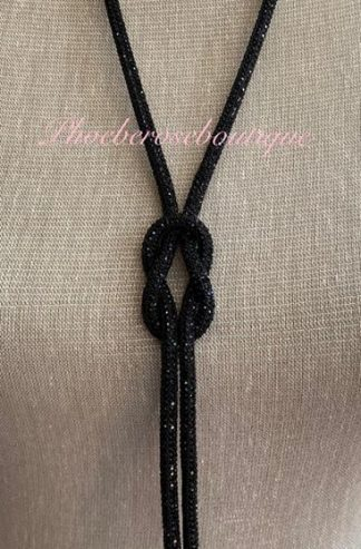 Sparkly Diamante Knot Long Necklace - Black