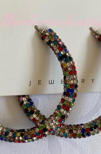 Sparkly Diamante Large Hoop Earings - Multi