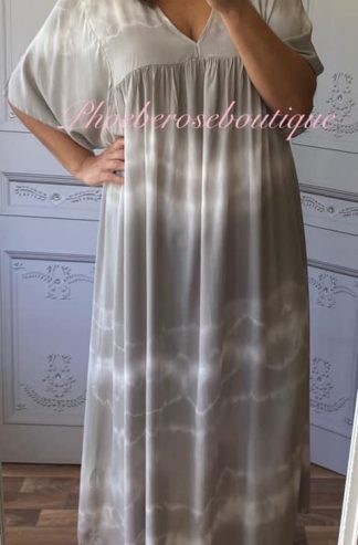 Lux Tie Dye Kaftan Look Sleeve Maxi Dress - Mocha