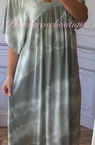 Lux Tie Dye Kaftan Look Sleeve Maxi Dress - Khaki