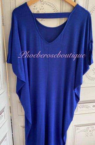 Jersey Cut Out Back Slouch Midi Dress - Royal Blue