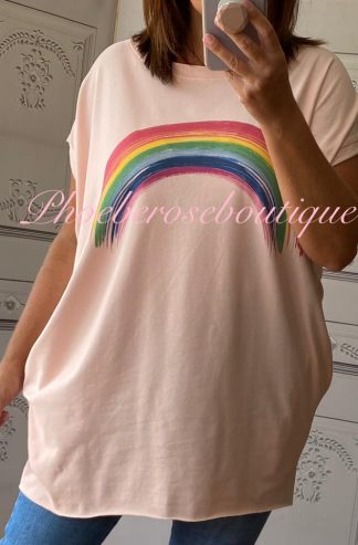 Rainbow Stretch Jersey Cap Sleeve Pocket Tunic Top - Soft Pink