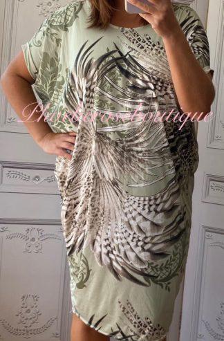 Jungle Animal Print Cut Out Back Tunic/Dress - Soft Khaki