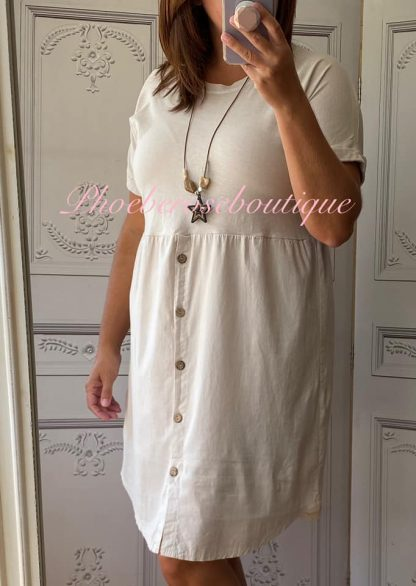 Button Front T-Dress - Stone