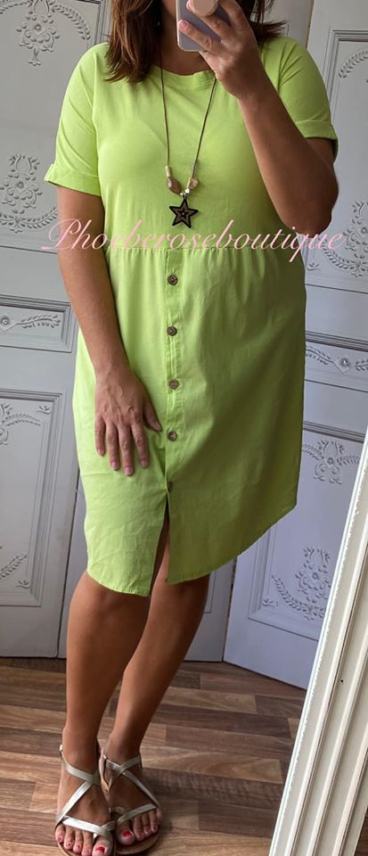 Button Front T-Dress - Lime