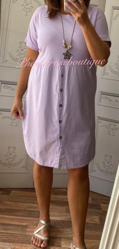 Button Front T-Dress - Lilac