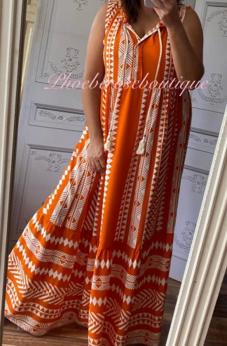Lux Aztec Print Maxi Dress - Orange