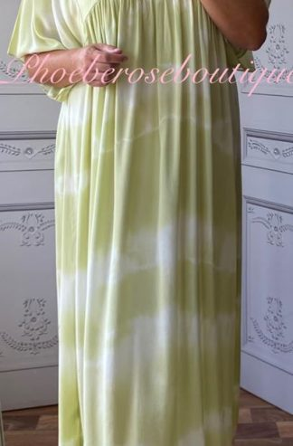 Lux Tie Dye Kaftan Look Sleeve Maxi Dress - Lime
