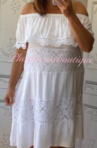 Lace Panel Bardot Dress - White