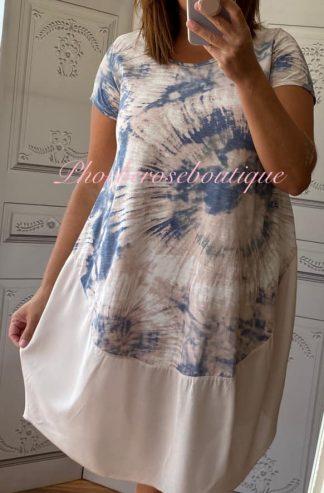 Tie Dye T-Shirt Dress with Contrast Hem - Soft Pink