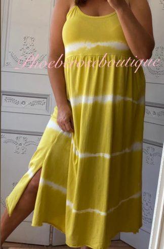 Tie Dye Spaghetti Strap Midi Sundress - Summer Yellow