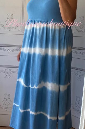 Tie Dye Spaghetti Strap Midi Sundress - Sky Blue