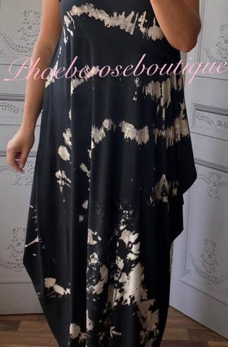 Splash Print Jersey Drape Cap Sleeve Dress - Black