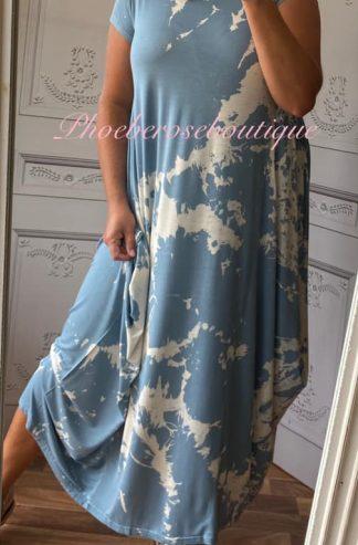 Splash Print Jersey Drape Cap Sleeve Dress - Soft Blue