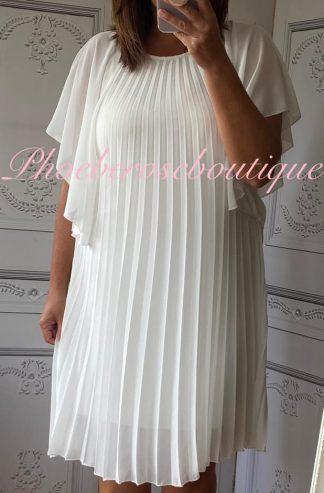Pleated Chiffon Angel Wing Sleeve Dress - Cream