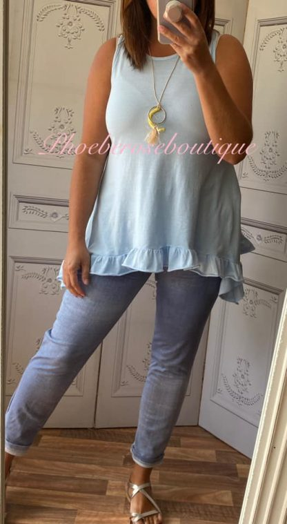 Drape Side Frill Hem Vest Top - Soft Blue
