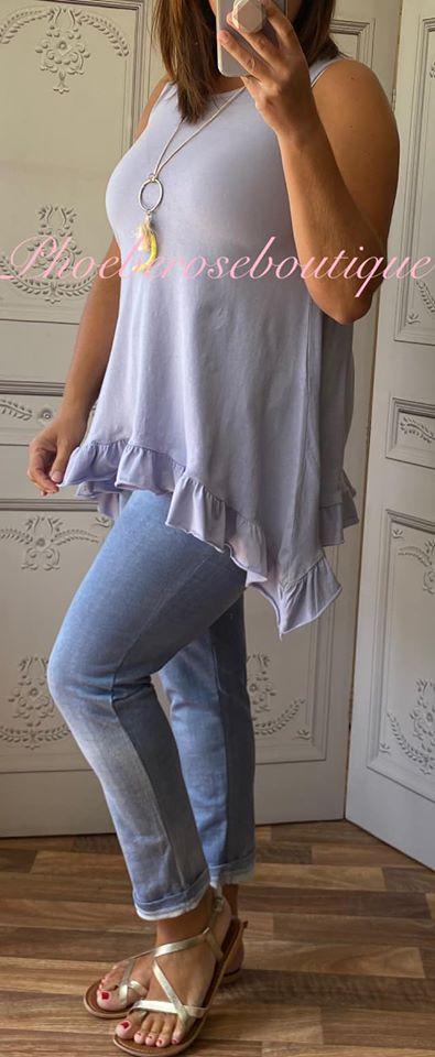Drape Side Frill Hem Vest Top - Lilac