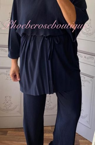 Soft Ribbed 2 Piece Oversized Belted Trouser Suit - Navy