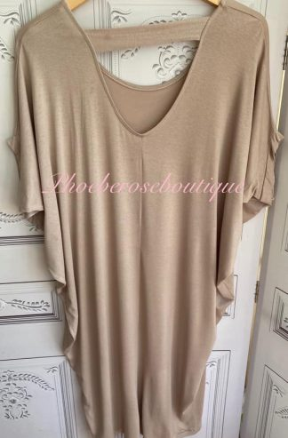 Jersey Cut Out Back Slouch Midi Dress - Sand