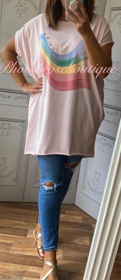 Rainbow 'It will be ok' Stretch Jersey Cap Sleeve Pocket Tunic Top - Soft Pink