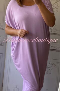 Jersey Cut Out Back Slouch Midi Dress - Lilac