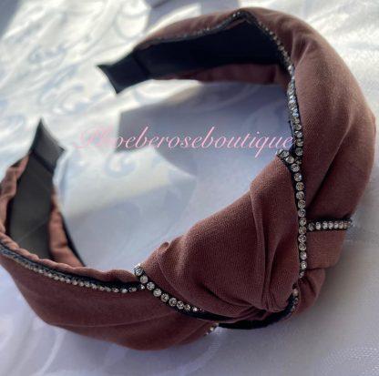 Diamante Trim Fabric Chunky Knot Headband - Dusky Pink