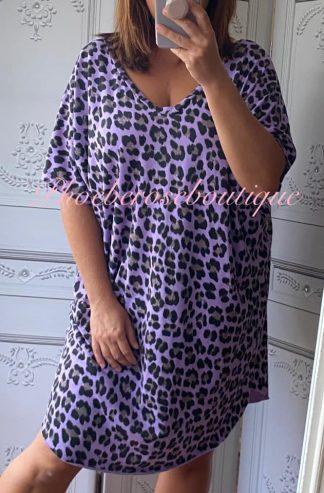 Soft Jersey Lepo Slouch T-Dress - Purple