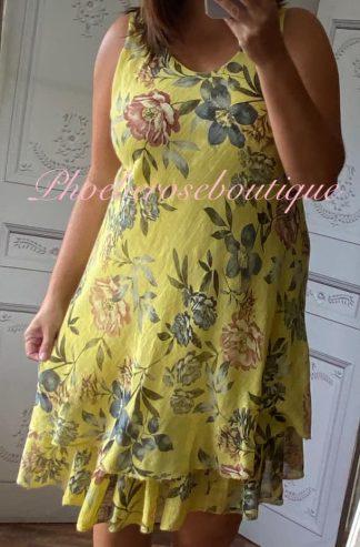 Floral Frill Hem Linen/Cotton Feel Dress - Yellow